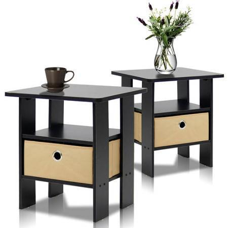 Furinno Petite End Table Bedroom Night Stand, Set of 2