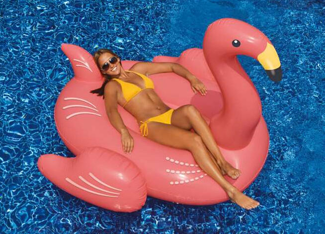 $34.49 Swimming Pool Inflatable Giant Rideable Pink Flamingo Float Toy 75""