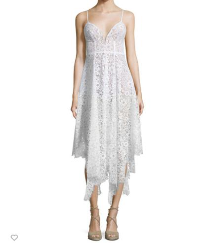 For Love & Lemons Rosemary Asymmetric-Hem Lace Dress, Ivory @ Neiman Marcus