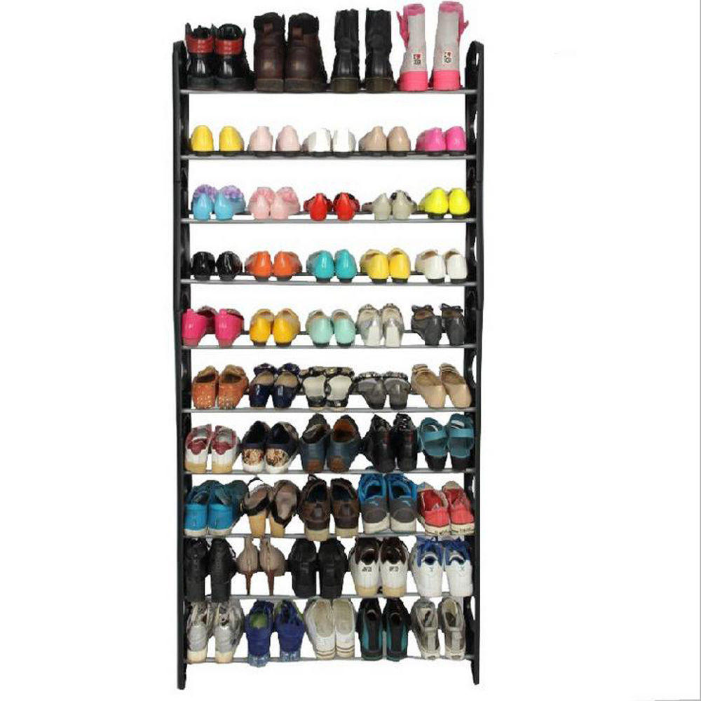 $14.99 Free Shipping Shoe Rack Storage Organizer, 10-Tier 50-Pair High Quality Portable Wardrobe Closet Bench Tower
