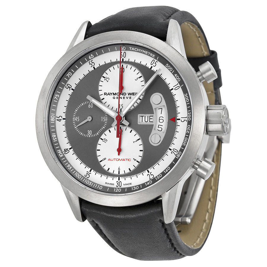 Raymond Weil Freelancer Chronograph Grey and Black Leather Mens Watch