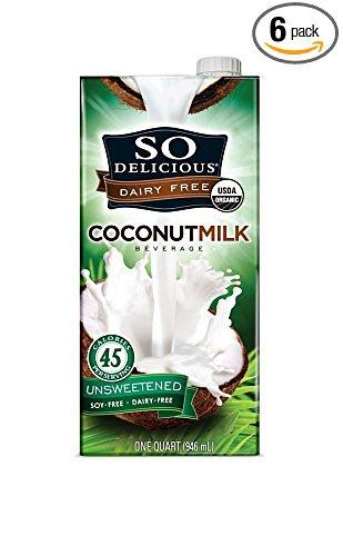 $8.94 So Delicious Dairy Free - Organic Coconut Milk Beverage Organic Unsweetened, 32-Ounce (Pack of 6)
