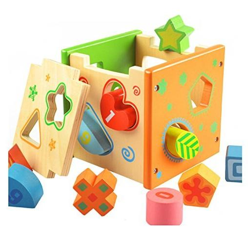 $16.99 [US CPSC Certified] BATTOP Wooden Shape Sorter Preschool Educational Toy Color Shape Recognition Toy for Kids