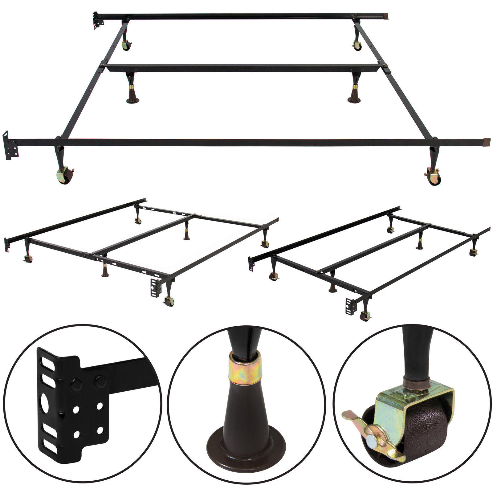 Metal Bed Frame Adjustable Queen Full Twin Size W/ Center Support Platform