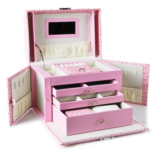 Youngway pink Leather Jewelry Box Lockable Jewel Case with Mirror handle and Storage Drawers