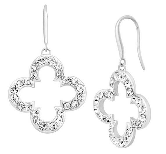 Clover Drop Earrings with Swarovski Crystals