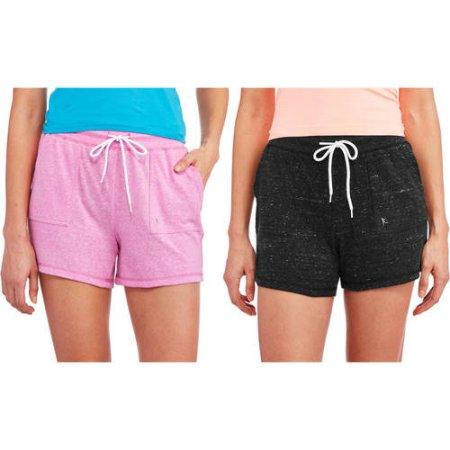 Danskin Now Women's Basic Knit Gym Short, 2 Pack Value Bundle