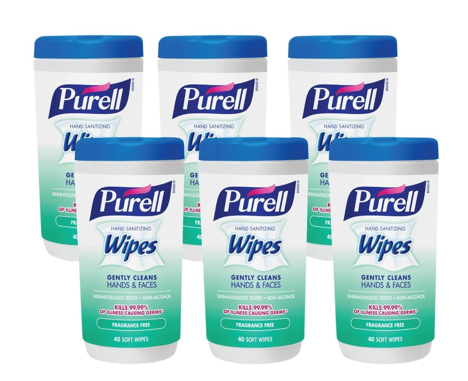 Purell Hand Sanitizing Wipes, Fragrance Free, 40 Count Canister (Pack of 6)