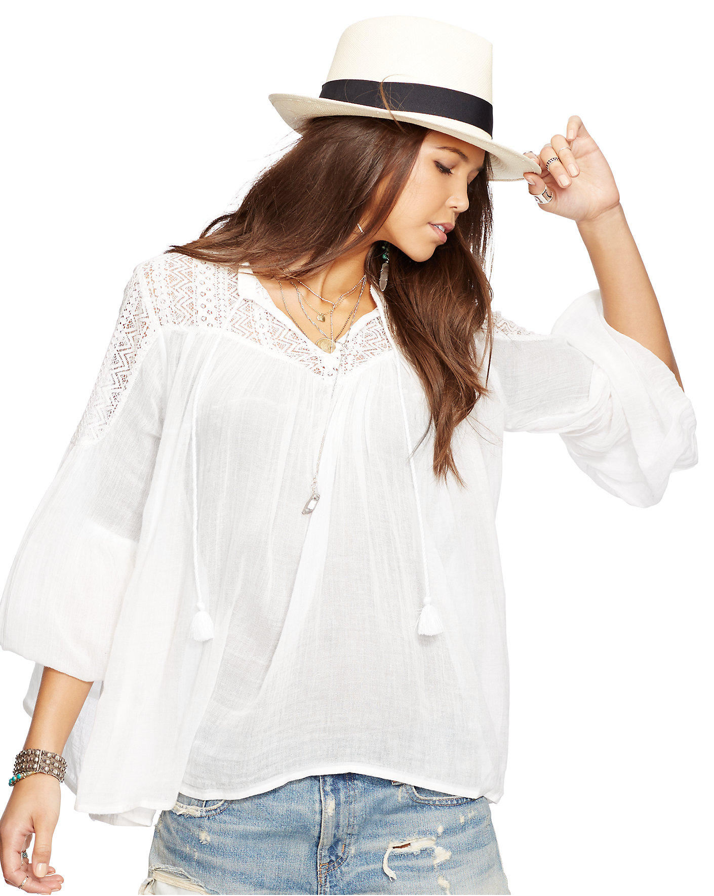 Ralph Lauren Lace-Yoke Coton Top