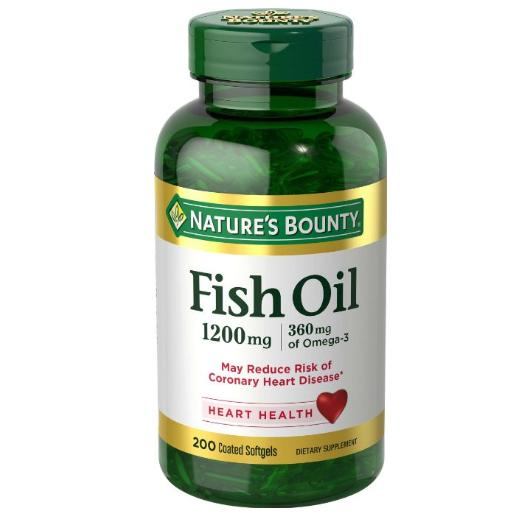 $9.91 Nature's Bounty Fish Oil 1200 mg Odorless, 200 Coated Softgels