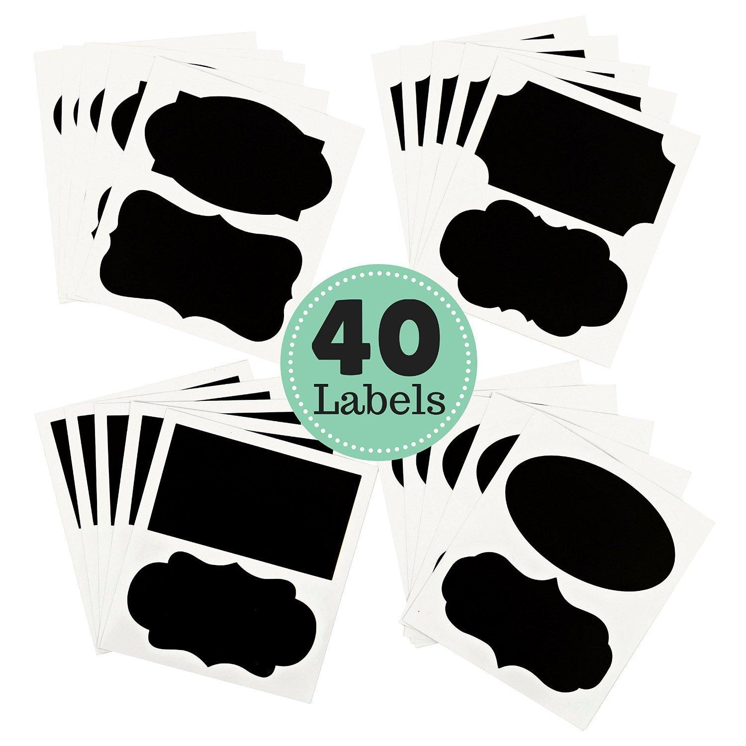 UNI-FAM Mason Jars Labels, 40 Chalkboard Stickers