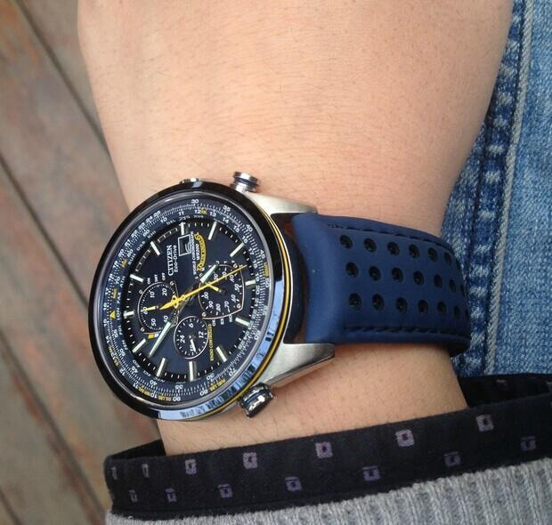 $259.99 Citizen Eco Drive Blue Angels World Chronograph Leather Mens Watch AT8020-03L