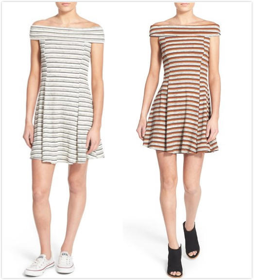$14.97 Lush Stripe Off the Shoulder Skater Dress On Sale @ Nordstrom