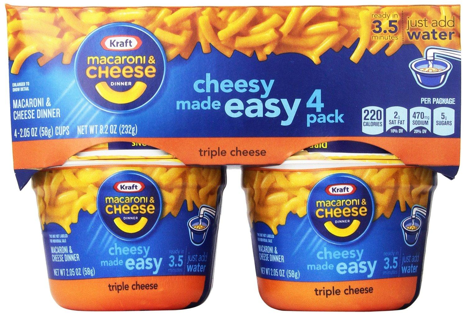 $10.16 Kraft easy Mac Triple Cheese (2.05-Ounce Each), 4-Count Cups (Pack of 6)