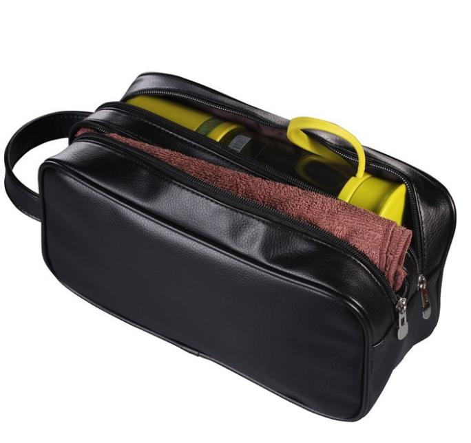 HappyDavid PU Leather Zipped Travel Toiletry Bag