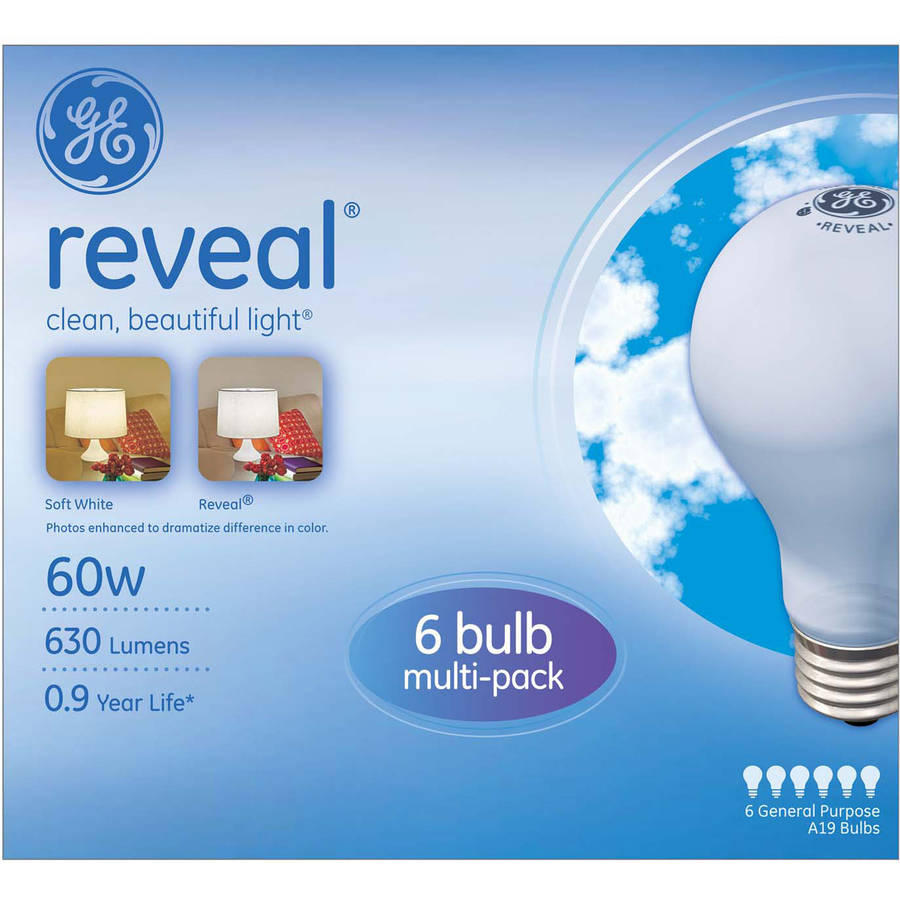 GE Reveal Incandescent 60W Light Bulbs, 12 pk of 6 bulbs (72 Bulbs total)