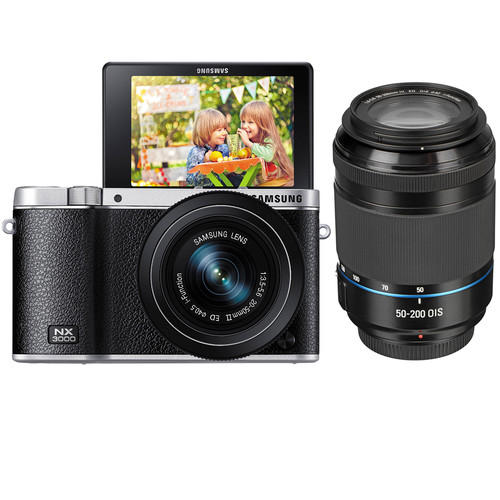 Samsung NX3000 Mirrorless Digital Camera with 20-50mm and 50-200mm 2 lens Kit (Black)