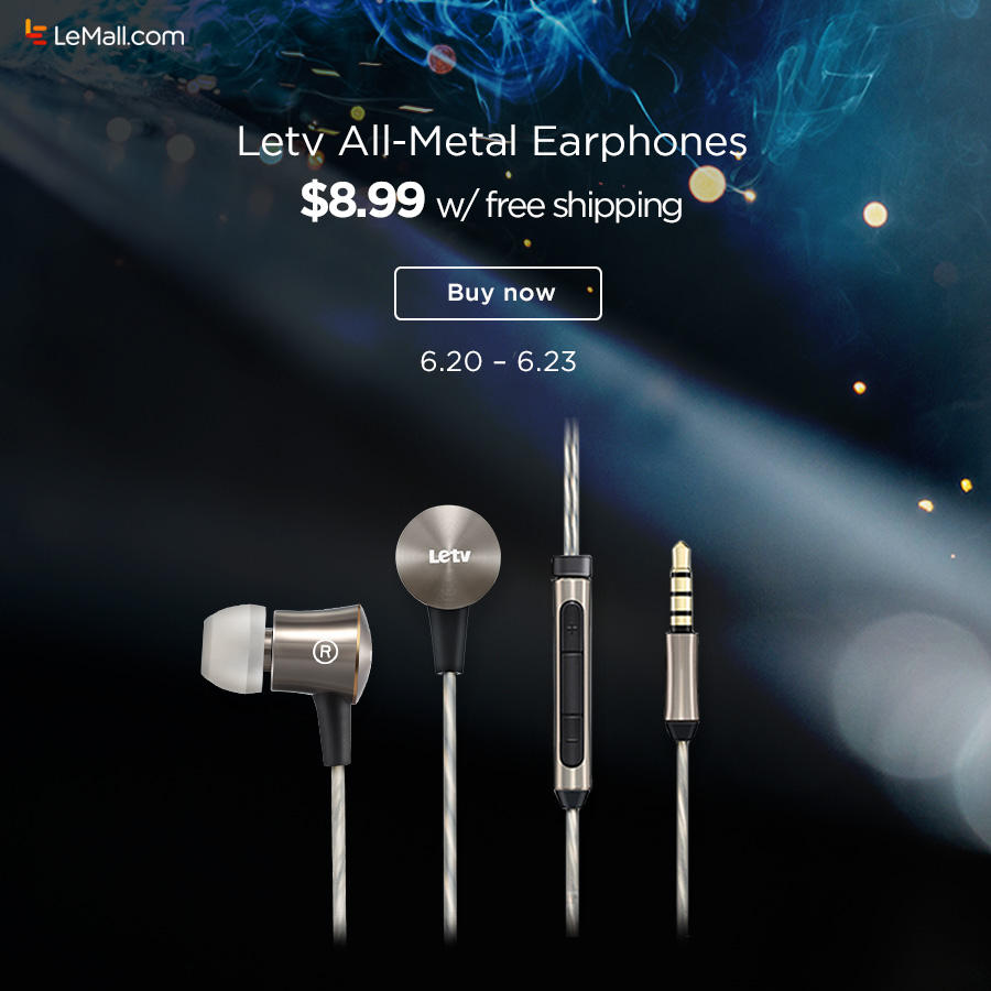 Free Shipping Letv All-Metal Earphones