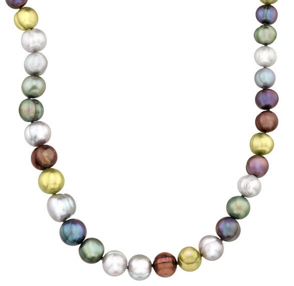 Multi-Color Graduating Ringed Pearl Strand Necklace