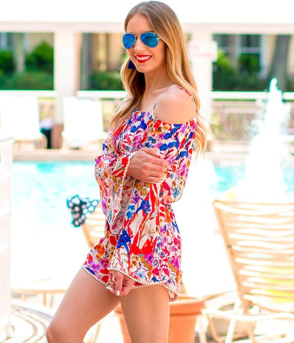 $28.8 Sun & Shadow Floral Print Cold Shoulder Romper On Sale @ Nordstrom