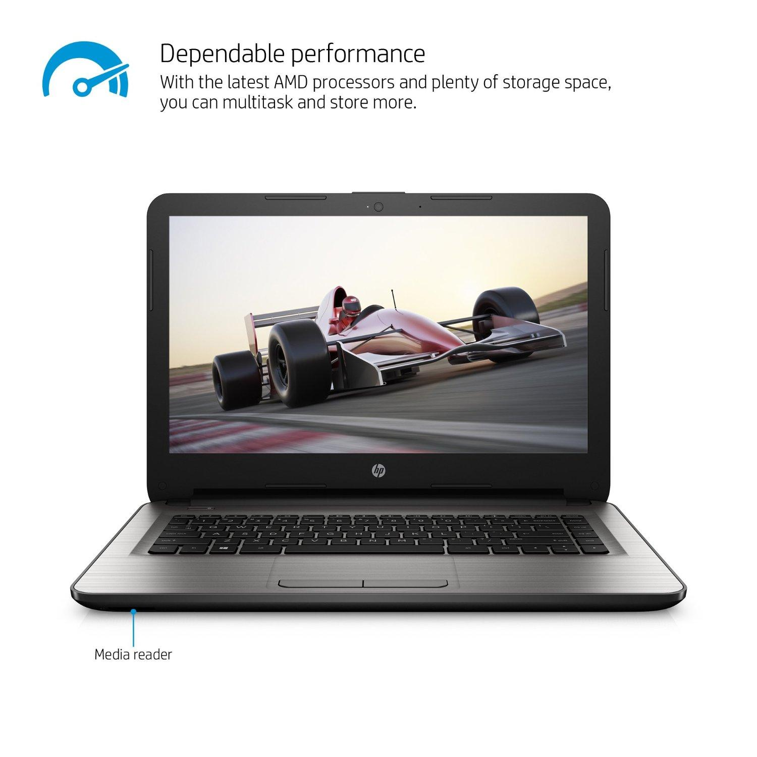 $199.99 HP 14-an013nr 14-Inch Notebook (AMD E2, 4GB RAM, 32 GB Hard Drive)