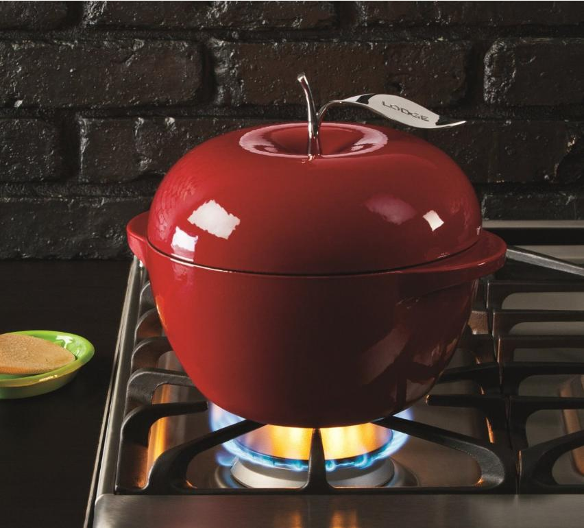 Lodge L Series E3AP50 Enameled Cast Iron Apple Pot, Apple Green, 3-Quart