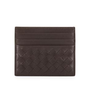 Up to 40% Off + Up to Extra 35% Off Bottega Veneta Woven Leather Credit Card Sleeve, Dark Brown @ Neiman Marcus