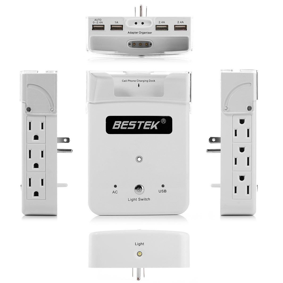 BESTEK 6 Outlet Wall-Mount Surge Protector with 5.2A 4 USB Charging Ports