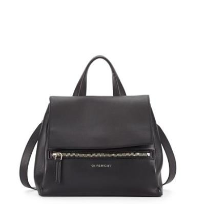 Givenchy Pandora Pure Small Leather Satchel Bag, Black @ Neiman Marcus