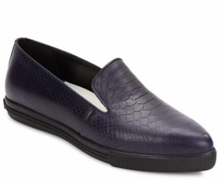 Alice + Olivia Rory Reptile-Embossed Leather Point Toe Slip-Ons @ Saks Off 5th