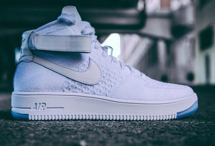 NIKE Air Force 1 Flyknit and textured-leather sneakers @ Net-A-Porter
