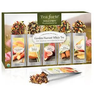 $11.4 Tea Forte GARDEN HARVEST WHITE Single Steeps Organic White Tea Loose Leaf Tea Sampler, 15 Single Serve Pouches, Fresh Fruit and Herb Flavors