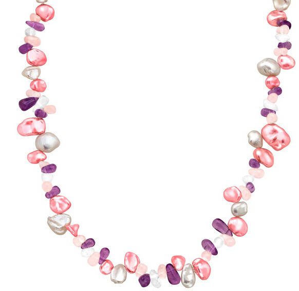 Raspberry & White Keshi Pearl Necklace with Gemstones