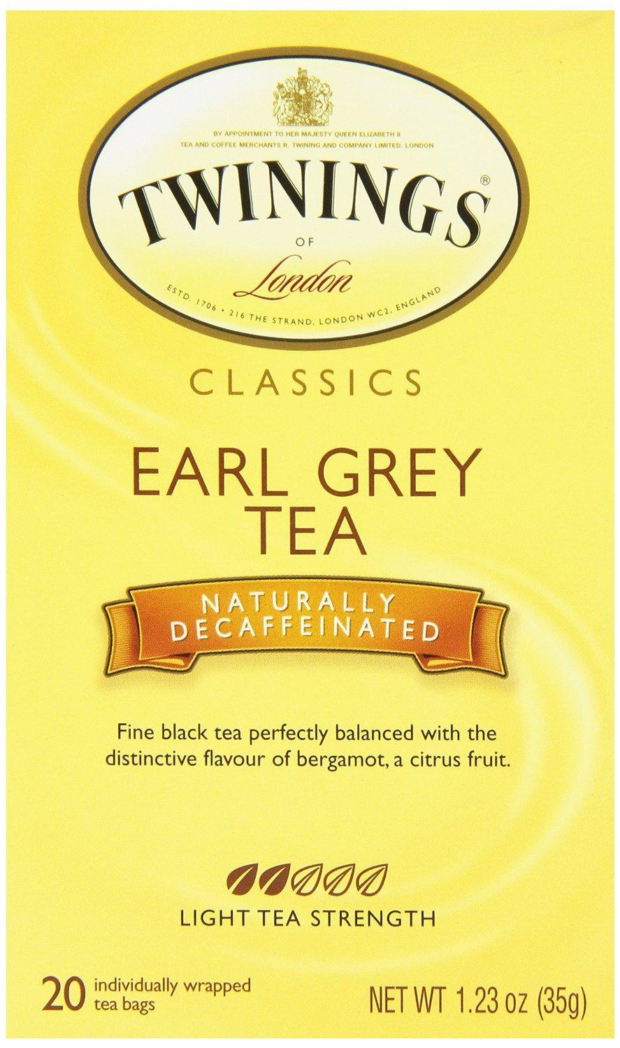 Twinings Decaf Black Tea, Earl Grey, 20 Count Bagged Tea (6 Pack)