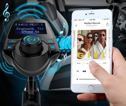 FM Transmitter, Otium? Bluetooth Wireless Music Radio Adapter Car Kit with USB Charger, Hands-Free Calling for Smartphones, Tablets, TF Card, MP3/MP4 and More Black