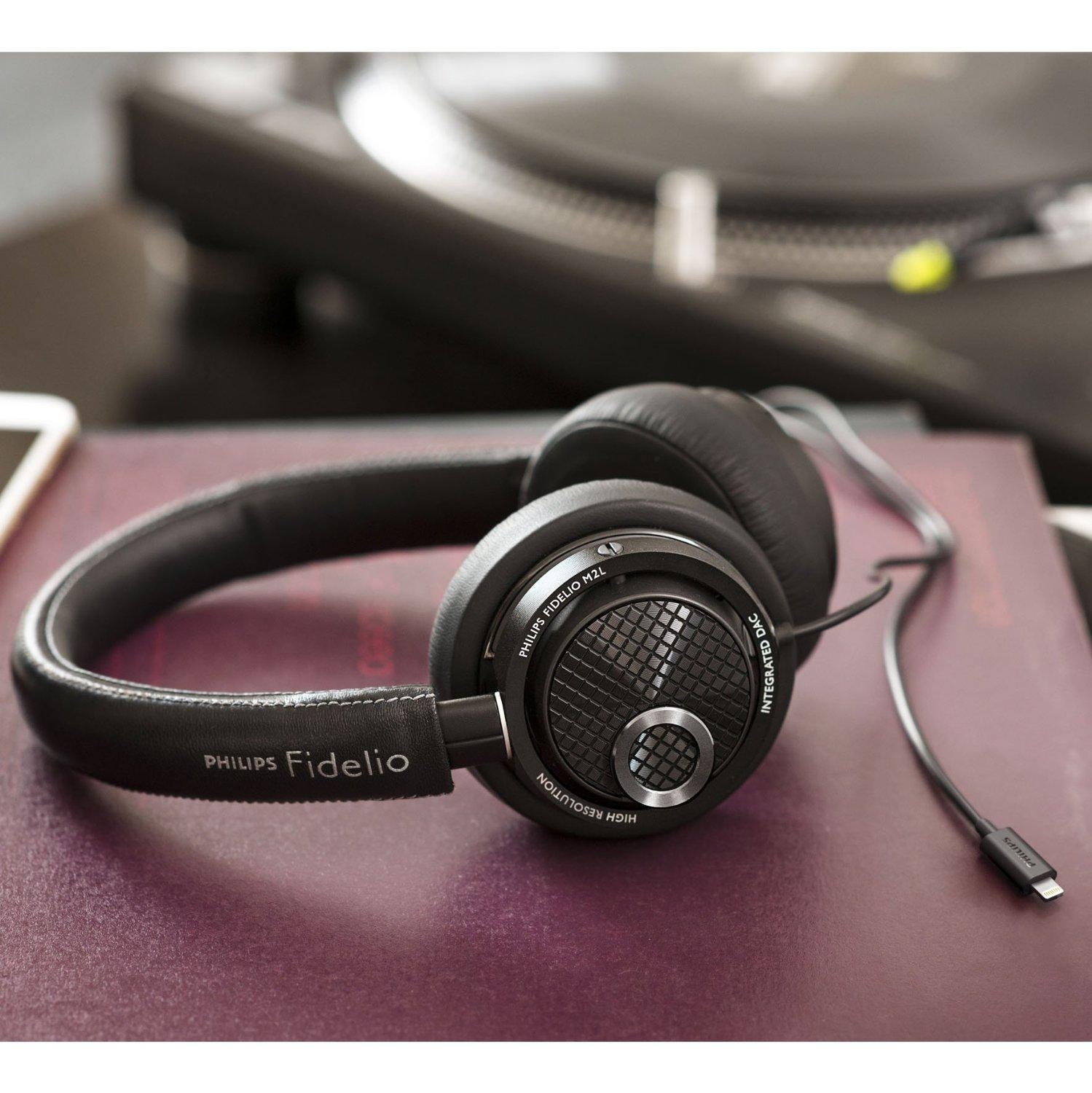 $140 Philips Fidelio M2L/27 High Resolution Headphones with Built-in DAC and Lightning Connector for Apple iOS (Black)