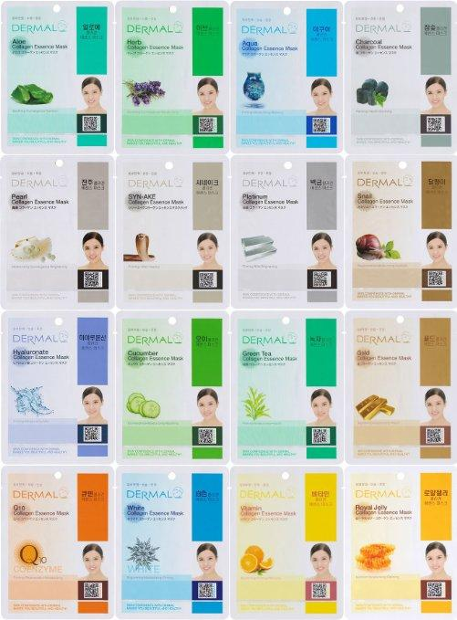 $8.39 Dermal Korea Collagen Essence Full Face Facial Mask Sheet, 16 Combo Pack