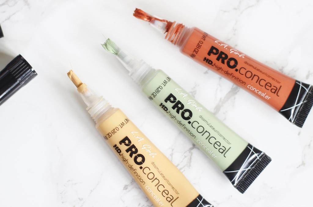 $7.5 L.A. Girl Pro Conceal Set Orange, Yellow, Green Correctors