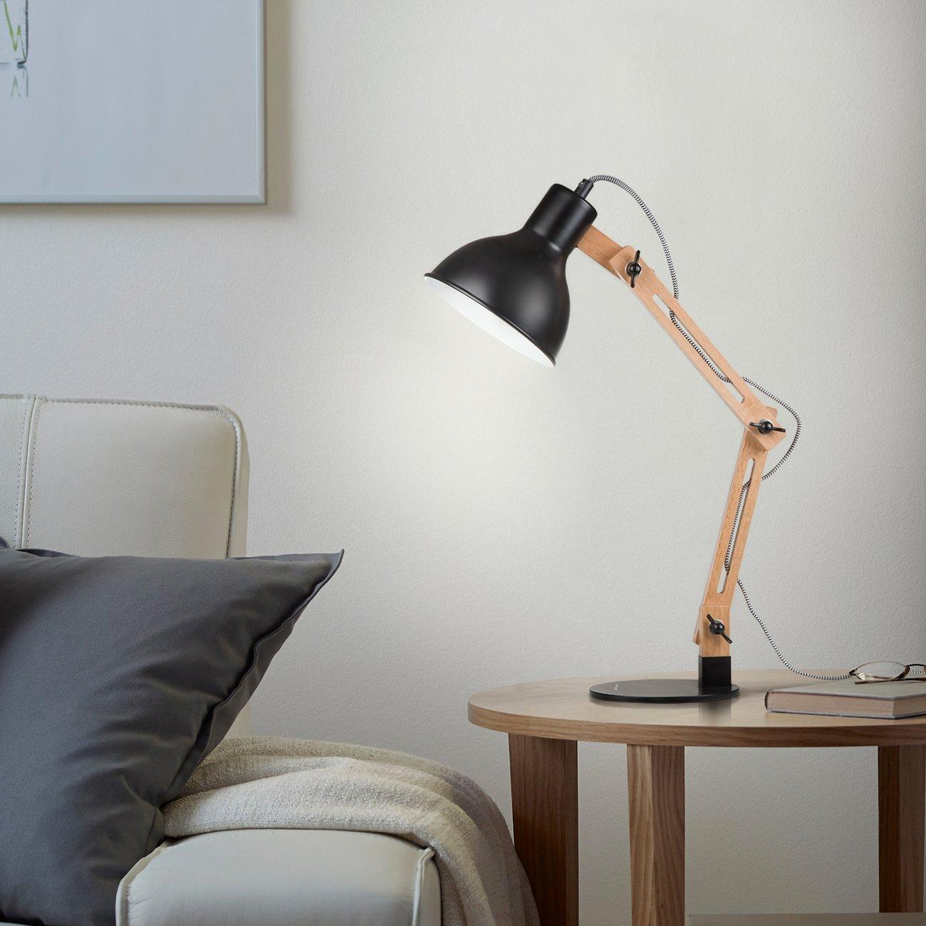 Tomons Scandinavian Swing Arm Desk Lamp, Designer Wood Table Lamp for Living Room