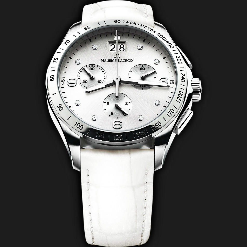 $374 Maurice Lacroix Miros Silver Diamond Dial Chronograph Ladies Watch