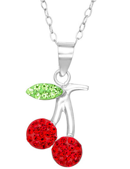 Cherry Pendant with Swarovski Crystal
