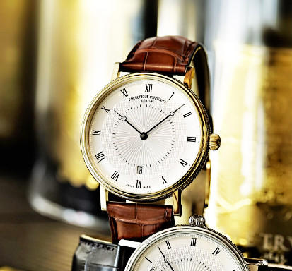 $670.02 Frederique Constant Men's Slim Line Gold-Tone Stainless Steel Watch