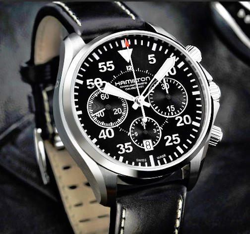 $799 Hamilton Men's Khaki Aviation Pilot Auto Chrono Watch