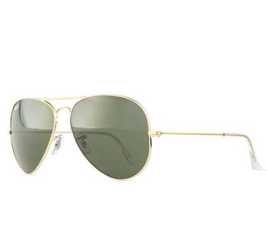 Ray-Ban Original Aviator Sunglasses, Gold/Green @ Neiman Marcus