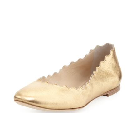 Chloe Scalloped Metallic Leather Ballerina Flat, Gold @ Neiman Marcus