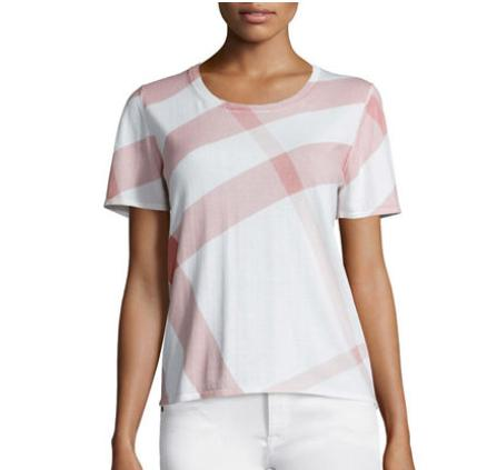 Burberry Brit Short-Sleeve Check Sweater @ Neiman Marcus