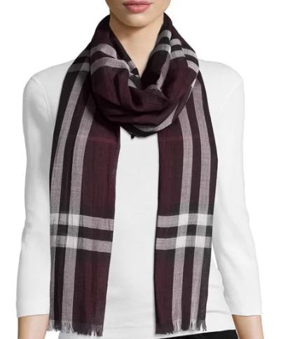 Burberry Gauze Giant Check Scarf, Purple @ Neiman Marcus