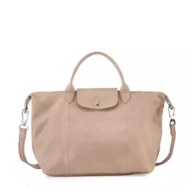 Longchamp Le Pliage Cuir Handbag with Strap, Sandy @ Neiman Marcus