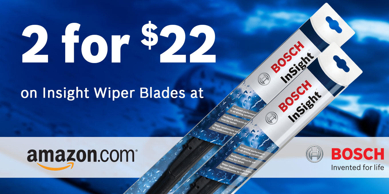 From $17.60 Select Bosch Insight Wiper Blades @ Amazon