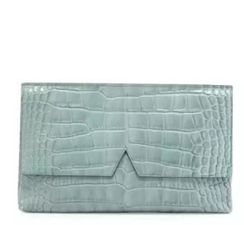 Vince Signature V Crocodile-Embossed Clutch Bag, Sage @ Neiman Marcus